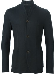 Giorgio Armani Three Button Knit Blazer Black
