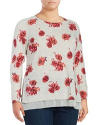 Lucky Brand Plus Plus Size Floral Print Layered Pullover Grey