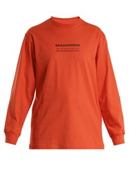 Mhi Maha Text Print Cotton Sweatshirt Orange