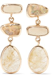 Melissa Joy Manning 14 Karat Gold Multi Stone Earrings One Size