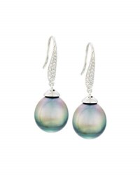 Belpearl 18K Tahitian Pearl And Pave Diamond Drop Earrings Gray