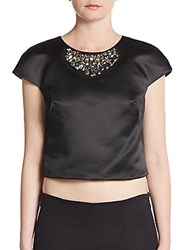 Milly Beaded Cap Sleeve Cropped Top Black