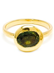 Natasha Collis 18K Gold And Green Sapphire Nugget Ring