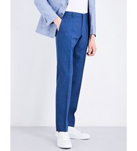 Hugo Boss Straight Leg High Rise Wool Trousers Bright Blue