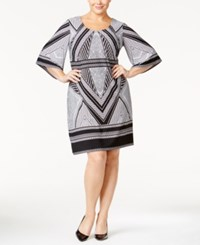 Calvin Klein Plus Size Geo Print Bell Sleeve Jersey Dress Black White