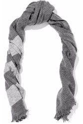 Duffy Fringed Striped Wool And Cashmere Blend Scarf Anthracite