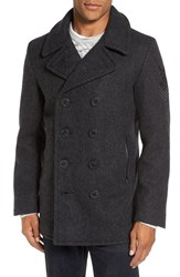 Schott Nyc Men's Embroidered Wool Blend Peacoat Dark Oxford