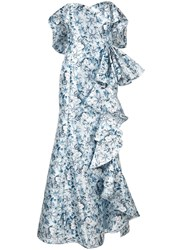 Badgley Mischka Off The Shoulder Ruffle Gown Blue