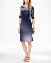 Karen Scott Striped Short Sleeve Dress Only At Macy's