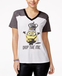 Hybrid Juniors' Despicable Me Graphic T Shirt White Heather Charcoal Black