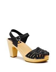 Swedish Hasbeens Braided Platform Sandals Black