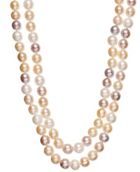 Belle De Mer Pink Cultured Freshwater Pearl Two Row Necklace In Sterling Silver 9 1 2Mm