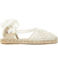 Dune Glowe Crochet Lace Espadrilles Cream Fabric