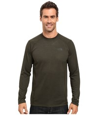 The North Face Long Sleeve Flashdry Crew Rosin Green Black Heather Men's Sweatshirt