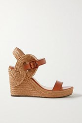 Jimmy Choo Delphi 100 Leather And Jute Espadrille Wedge Sandals Light Brown