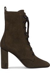 Saint Laurent Loulou Lace Up Suede Ankle Boots Army Green