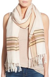 Women's Caslon Pickstitch Border Cotton And Linen Scarf