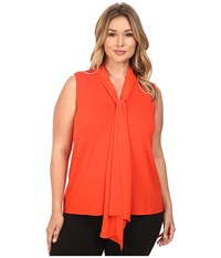 Vince Camuto Plus Size Sleeveless High Low Hem V Neck Top With Woven Scarf Vivid Flame Women's Sleeveless Orange
