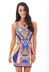 Forever 21 Tribal Print Bodycon Dress Yellow Blue