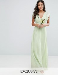 Tfnc Wedding V Front Maxi Dress With Frill Sleeves Green