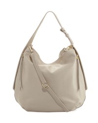 Neiman Marcus Dollaro Pebbled Leather Hobo Bag Off White