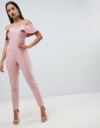 Lipsy Sweetheart Bandeau Jumpsuit With Tie Waist In Nude Pink