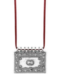 Lucky Brand Silver Tone And Red Ultra Suede Statement Necklace