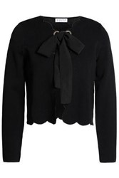 Claudie Pierlot Pussy Bow Stretch Knit Jacket Black