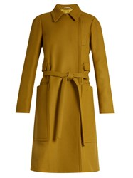 Rochas Oversized Pocket Wool Blend Coat Dark Yellow