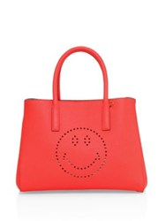 Anya Hindmarch Ebury Small Smiley Leather Tote Neon Coral