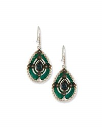 Armenta New World Teal Mosaic Earrings With Champagne Diamonds Black Pattern