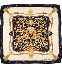 Aspinal Of London Crest And Horseshoes Scarf Navy