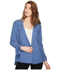 1.State Notched Lapel Soft Jacket With Sleeve Ties Harbor Sky Women's Coat White