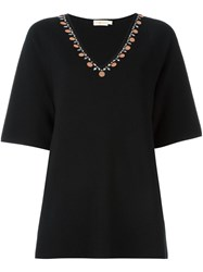 Tory Burch V Neck Knitted Top Black