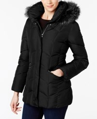 Larry Levine Faux Fur Trim Pillow Collar Puffer Coat Black