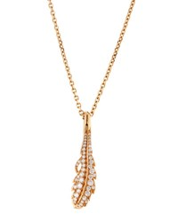 Mimi So Phoenix 18K Rose Gold Pave Diamond Feather Pendant Necklace Medium