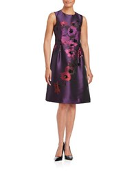 Teri Jon Floral Embellished Dress Purple