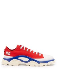 Raf Simons X Adidas Detroit Runner Canvas Low Top Trainers Red Multi