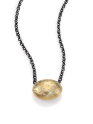 Rene Escobar Diamond 18K Yellow Gold And Sterling Silver Oval Pendant Necklace Gold Silver