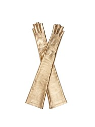 Gucci Metallic Fingerless Elbow Length Gloves Gold