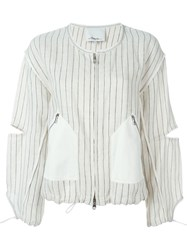 3.1 Phillip Lim Pinstripe Bomber Jacket Nude And Neutrals