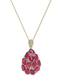 Macy's Certified Ruby 3 1 2 Ct. T.W. And Diamond 1 8 Ct. T.W. Pendant Necklace In 14K Gold Yellow Gold