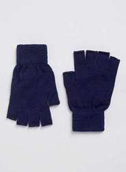 Topman Navy Fingerless Gloves Blue