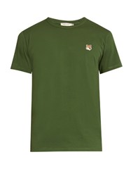 Maison Kitsune Fox Applique Crew Neck T Shirt Green