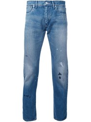 Bedwin And The Heartbreakers Splattered Slim Fit Jeans Blue