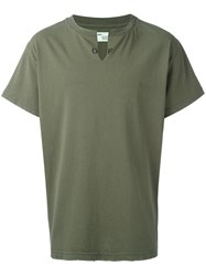 Off White Collar Cut T Shirt Green