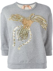 N 21 No21 Beaded Animal Jumper Grey