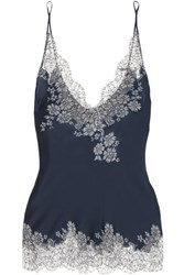 Carine Gilson Chantilly Lace Trimmed Silk Satin Camisole Navy