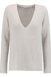 Helmut Lang Ribbed Wool And Cashmere Blend Sweater Light Gray