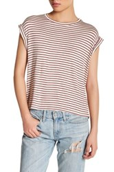 Candc California Short Sleeve Striped Tee Beige
